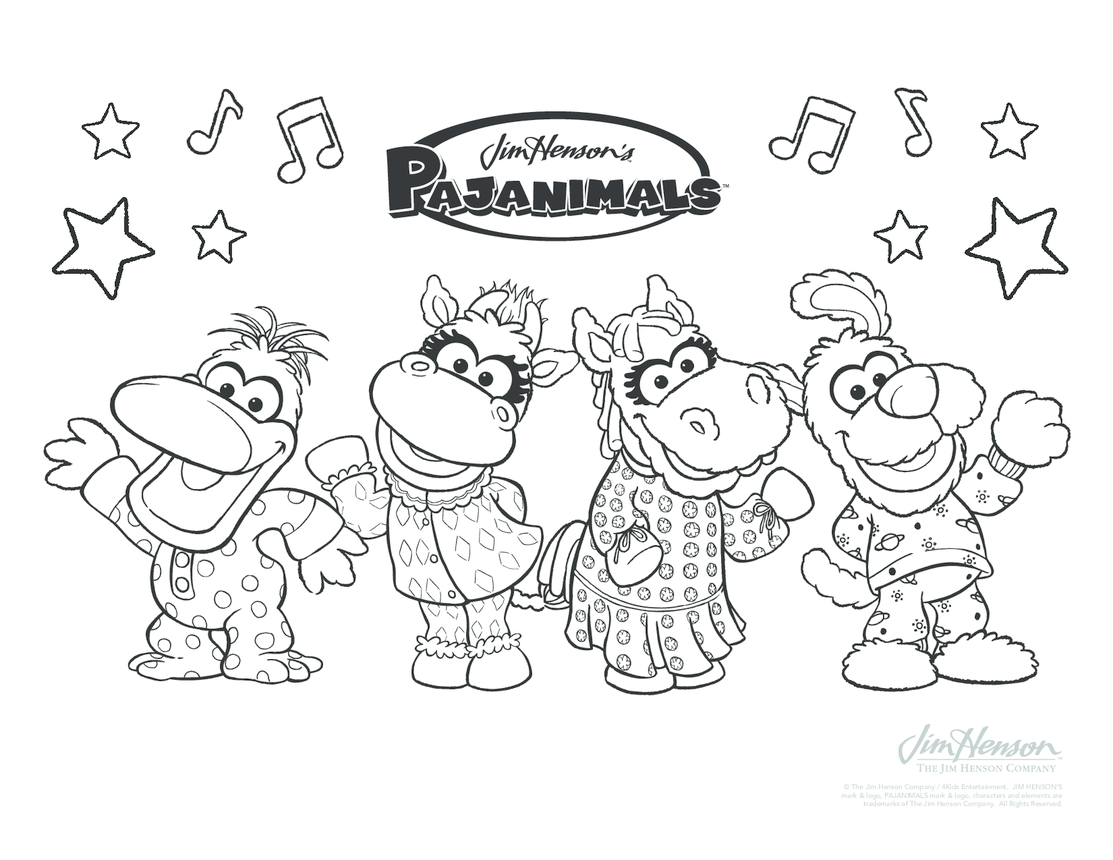 Pajaminals Colouring in Picture