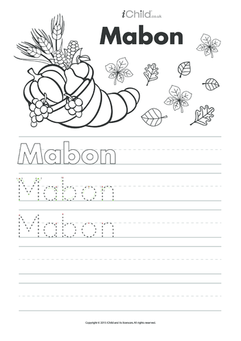 Thumbnail image for the Mabon Handwriting Practice Sheet activity.