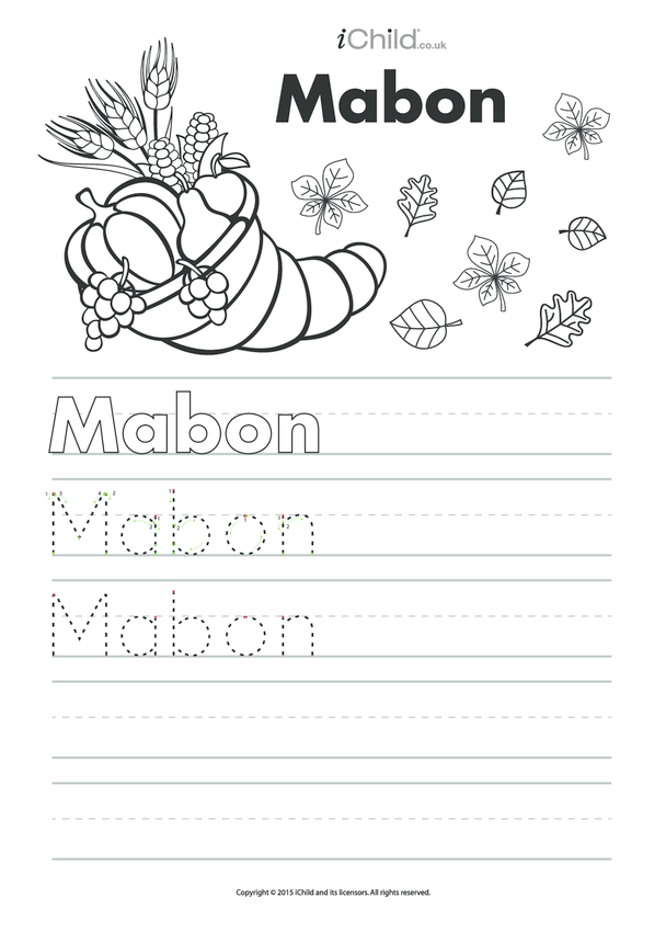 Mabon Handwriting Practice Sheet