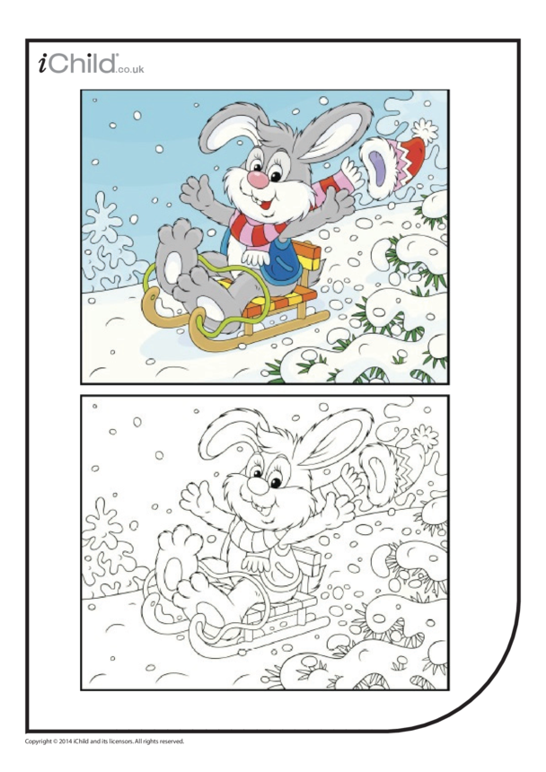 Sledging Bunny Colouring in Picture