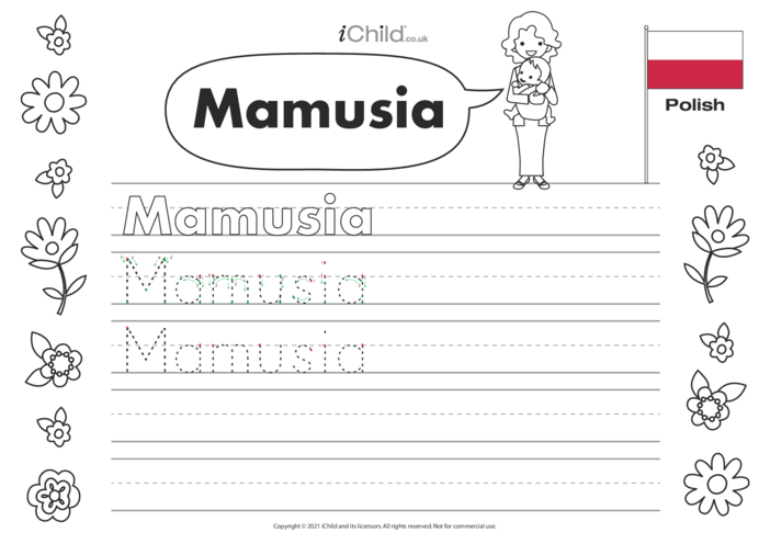 Thumbnail image for the Mummy in Polish Handwriting Practice Sheet activity.