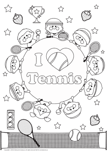 Thumbnail image for the I Love Tennis Colouring in Picture activity.