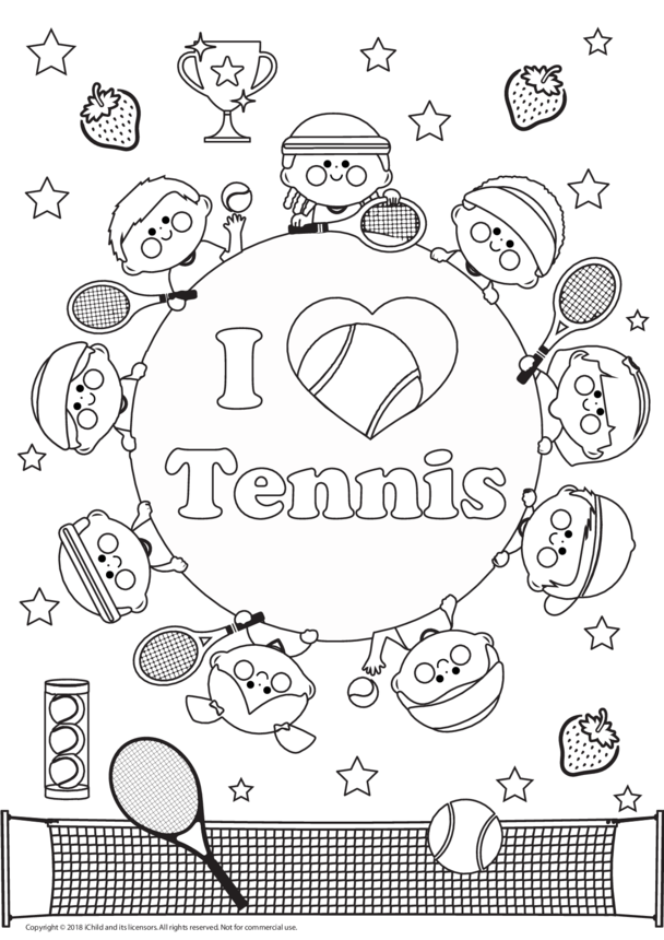 I Love Tennis Colouring in Picture