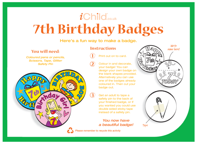 Thumbnail image for the Birthday Badges designs template for 7 year old 7th birthday activity.