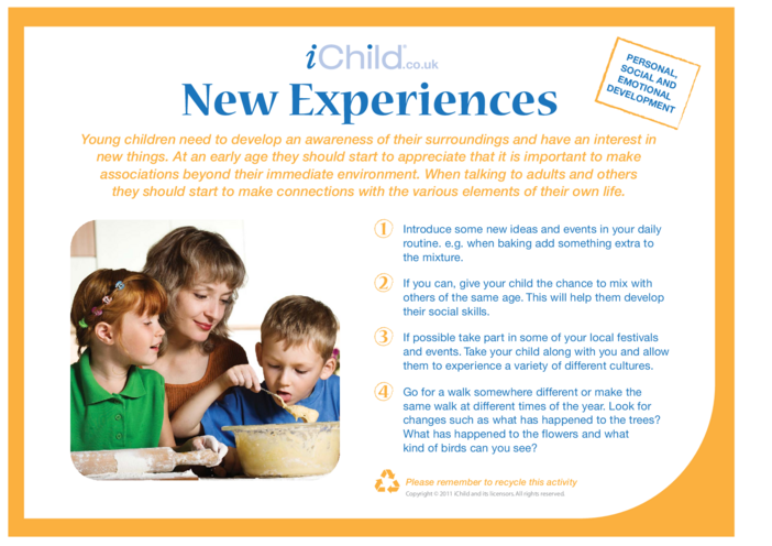 Thumbnail image for the New Experiences activity.