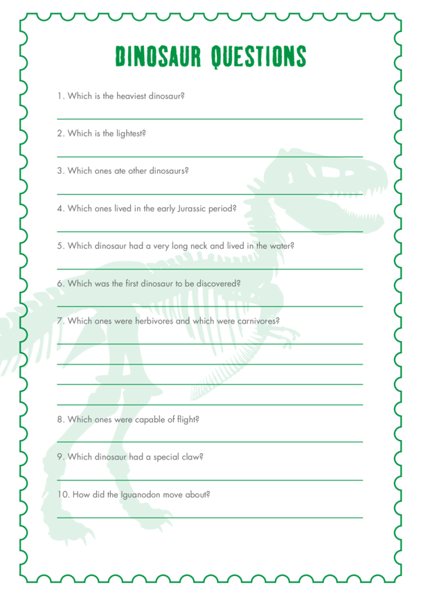 Primary 1) The Real Giants- Dinosaur Questions
