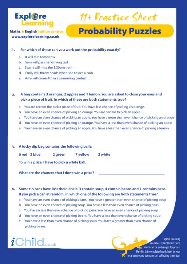 Maths: 11 Plus Practice Paper - Probability Puzzles