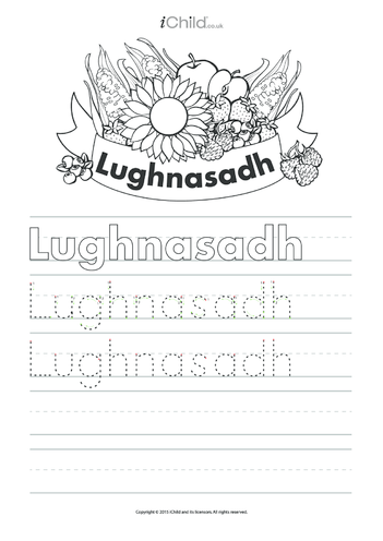 Thumbnail image for the Lughnasadh Handwriting Practice Sheet activity.