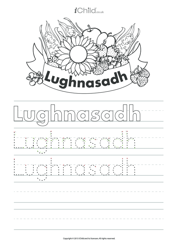 Lughnasadh Handwriting Practice Sheet