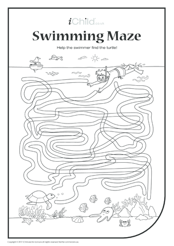Thumbnail image for the Swimmer & Turtle Maze (black & white) activity.