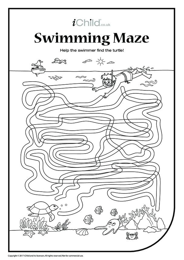 Swimmer & Turtle Maze (black & white)
