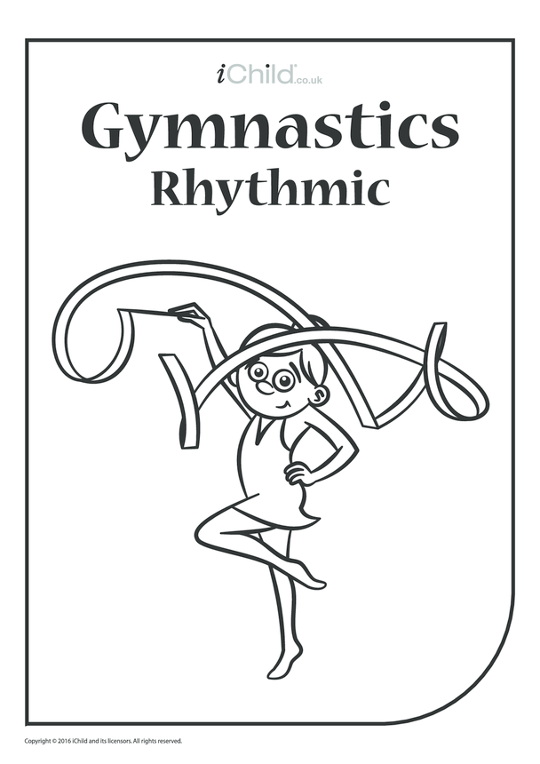 Rhythmic Gymnast Colouring in Picture (Ribbon)