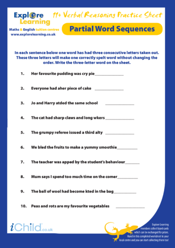 Thumbnail image for the 11 Plus Practice Paper: Verbal Reasoning - Partial Words activity.