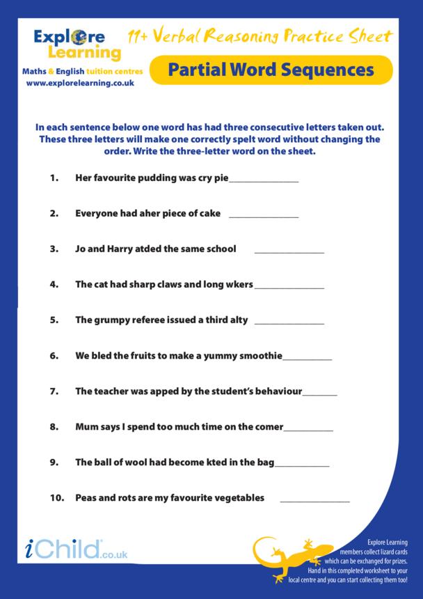 11 Plus Practice Paper: Verbal Reasoning - Partial Words