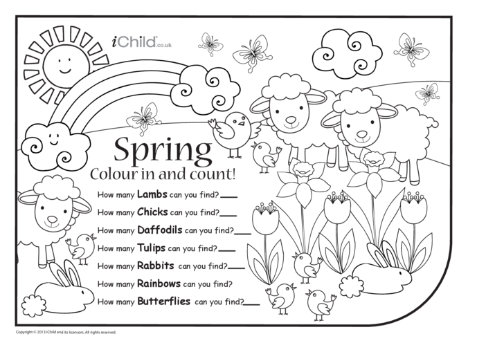 Thumbnail image for the Colour in & Count - Spring activity.