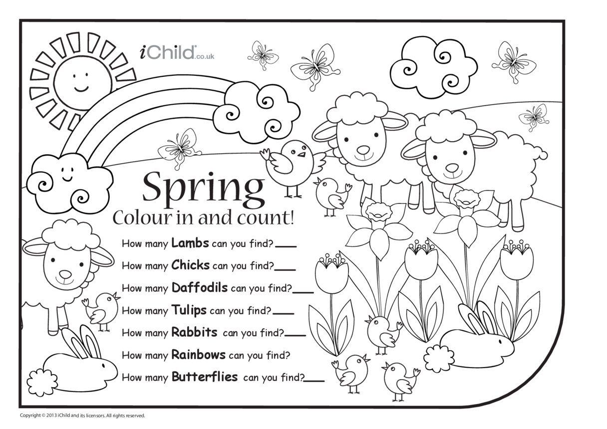 Colour in & Count - Spring