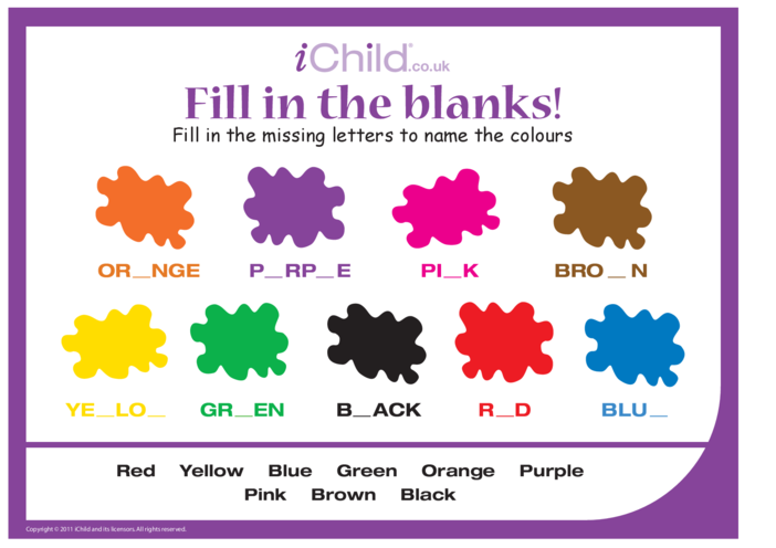 Thumbnail image for the Fill in the Blanks- Colours activity.