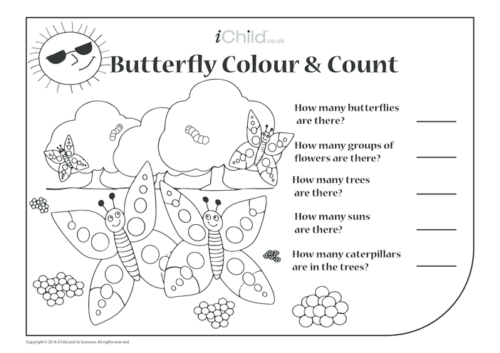 Thumbnail image for the Butterfly Colour in & Count activity.