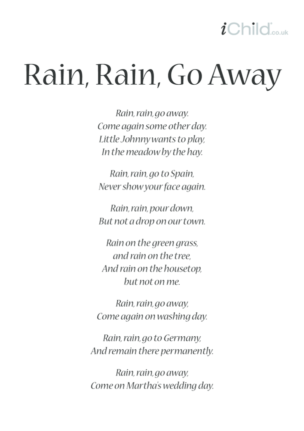 Rain, Rain, Go Away Lyrics