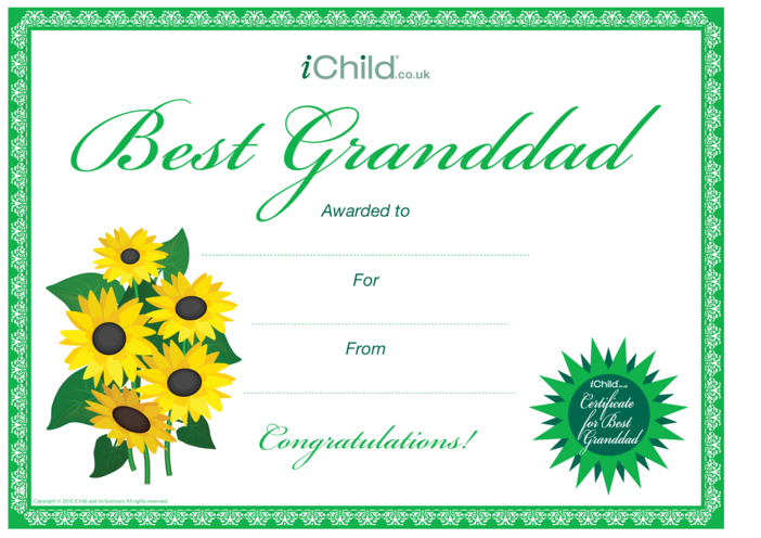 Thumbnail image for the Best Grandad Certificate activity.