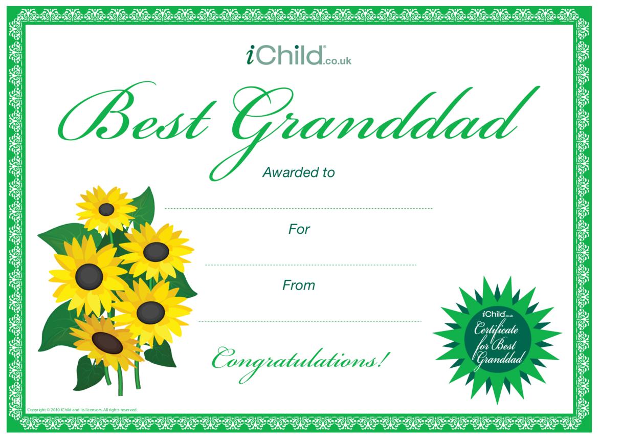 Best Grandad Certificate