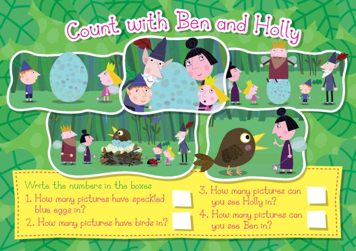 Thumbnail image for the Count with Ben & Holly activity.