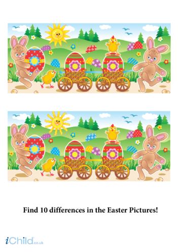 Thumbnail image for the Easter Scene Spot the Difference activity.