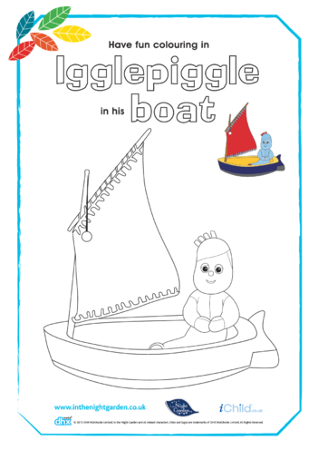 Thumbnail image for the Igglepiggle in his Boat Colouring in Picture activity.