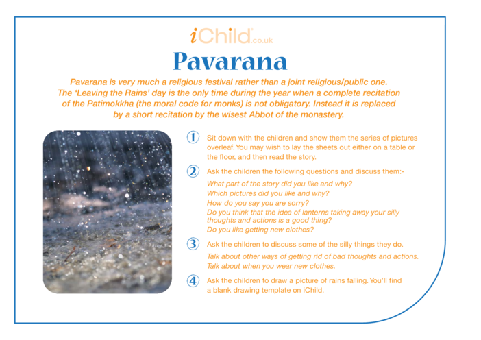 Thumbnail image for the Pavarana Religious Festival Story activity.