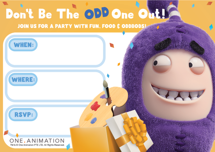 Thumbnail image for the Party Invites Jeff Oddbods activity.