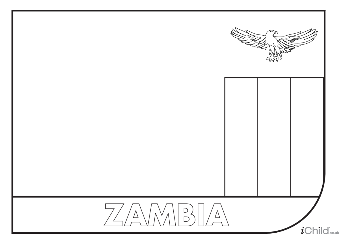 Zambia Flag Colouring in Picture (flag of Zambia)
