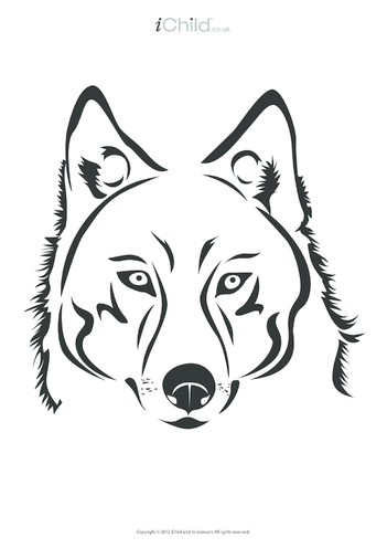 Thumbnail image for the Wolf Colouring in Picture activity.