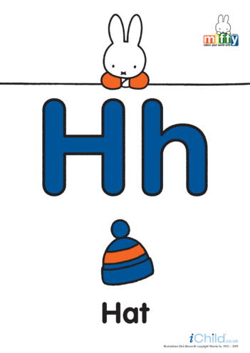 Thumbnail image for the H: Miffy's Letter Hh (less ink) activity.