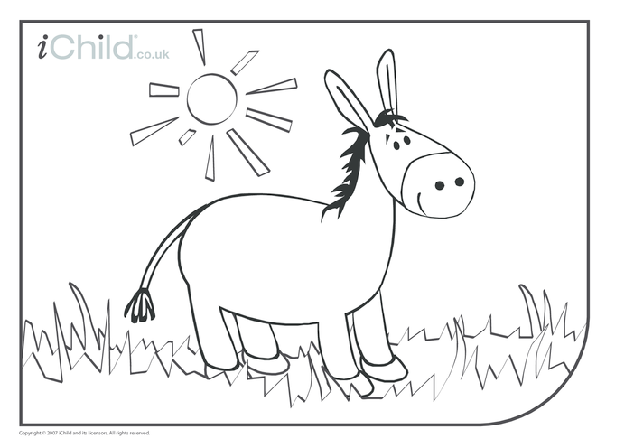 Thumbnail image for the Donkey Colouring in picture activity.