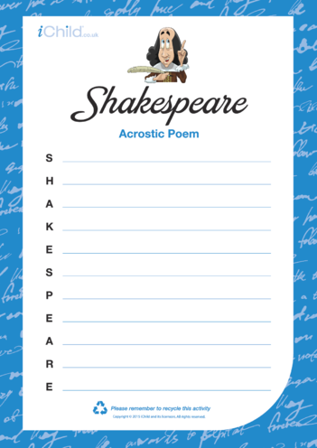Thumbnail image for the Shakespeare Acrostic Poem activity.