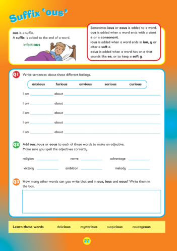 Thumbnail image for the Collins Easy Learning KS2 English, Spelling, 'ous' activity.