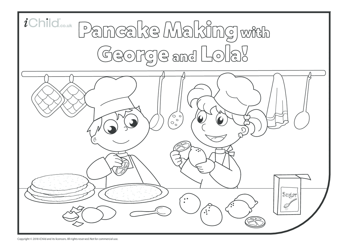 Pancake Making Colouring in Picture