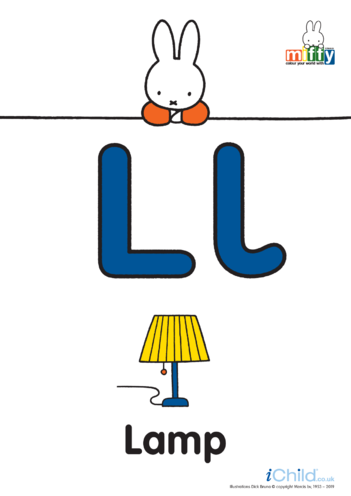 Thumbnail image for the L: Miffy's Letter Ll (less ink) activity.