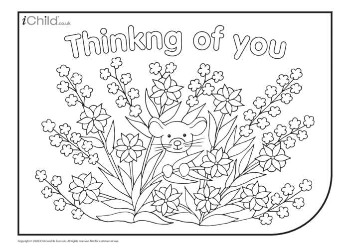 Thumbnail image for the Thinking of You Colouring in Picture activity.