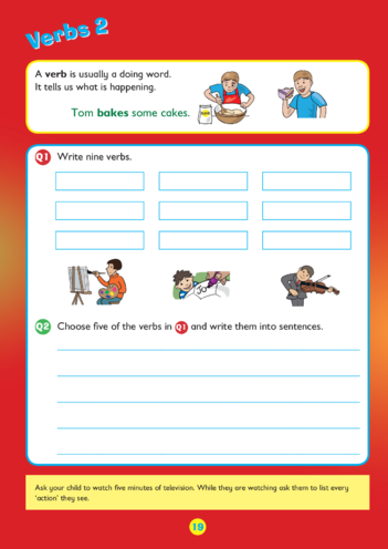 Thumbnail image for the Collins Easy Learning KS1 English Grammar, Verbs 2 activity.