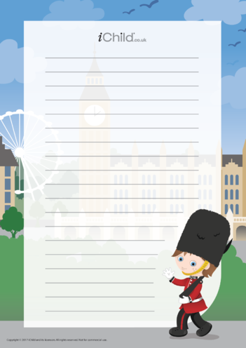 Thumbnail image for the Trooping the Colour Lined Writing Paper Template activity.