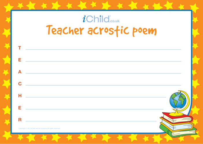 Thumbnail image for the Teacher Acrostic Poem activity.