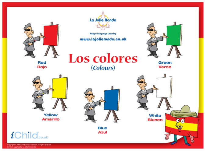 Thumbnail image for the Colours in Spanish activity.
