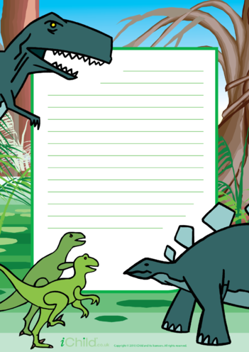 Thumbnail image for the Dinosaur Lined Writing Paper Template activity.