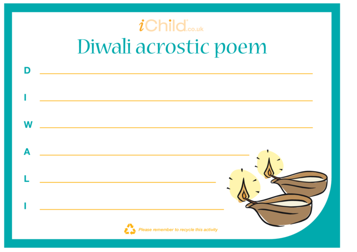 Thumbnail image for the Diwali Acrostic Poem activity.