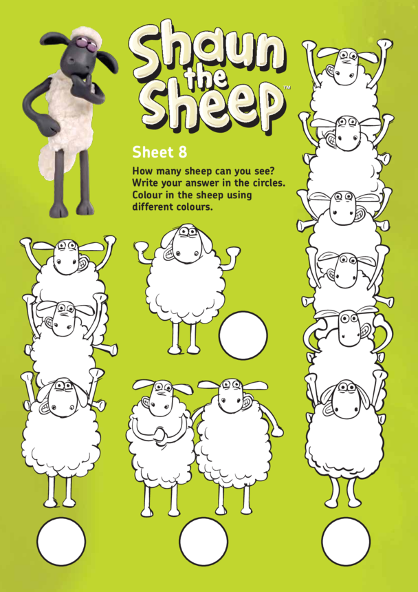 Shaun The Sheep: Counting and Colouring Activity 1 (EYFS/KS1)