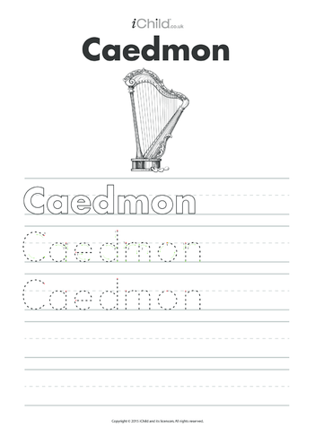 Thumbnail image for the Caedmon Handwriting Practice Sheet activity.