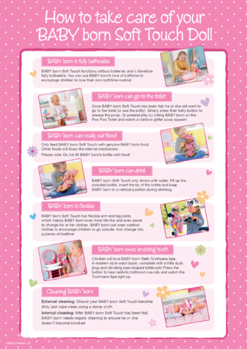 Thumbnail image for the Caring for your BABY born Soft Touch Doll activity.