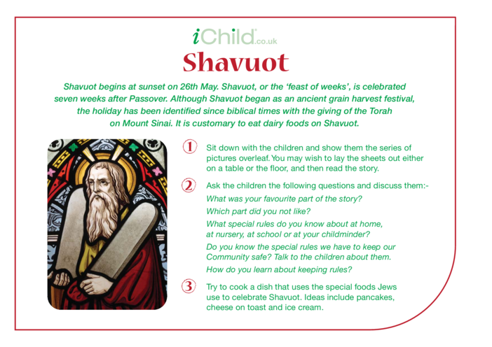Thumbnail image for the Shavuot Religious Festival Story activity.