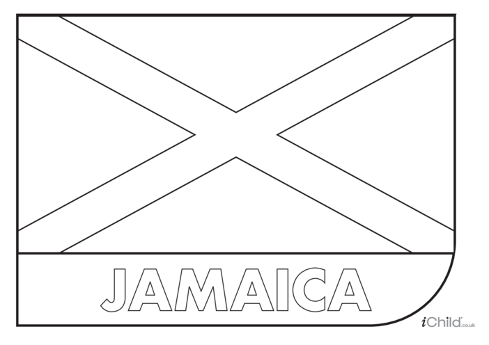 Thumbnail image for the Jamaica Flag Colouring in Picture (flag of Jamaica) activity.
